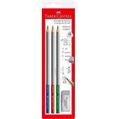 Lápis Graphicolor e Borracha 3 Cores Faber Castell