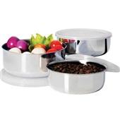 Conjunto Potes Inox com Tampa Plástica 3 UN Euro