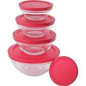 Conjunto Potes de Vidro Redondo Tampa Plástica Vermelho 5 UN Euro
