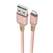 Cabo Lightning USB para iPhone iPad e iPod Nylon 1m Rosé Gold 1 UN Geonav