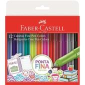 Caneta Hidrográfica Fine Pen 0,4mm 12 Cores Faber Castell