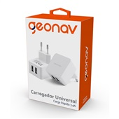 Carregador de Parede 2 Saídas USB Universal 3.4A Branco 1 UN Geonav