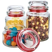 Conjunto Potes de Vidro Multiuso Vermelho 3 UN Euro