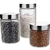 Conjunto Potes de Vidro Tampa Inox Rattan 3 Peças 1 UN Euro