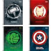 Caderno Colegial Capa Dura 10 Matérias 160 FL Avengers Heroes Capas Sortidas 1 UN Tilibra