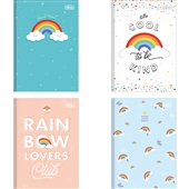Caderno Brochura Capa Dura 1/4 80 FL Rainbow Capas Sortidas 1 UN Tilibra