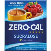 Adoçante em Pó Sucralose Sachê 0,8g CX 50 UN Zero Cal