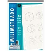 Caderno Colado Milimetrado A3 Branco Académie 50 Folhas 1 UN Tilibra