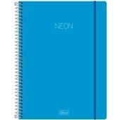 Caderno Universitário Capa Dura 1 Matéria Neon Azul 80 FL 1 UN Tilibra