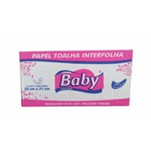 Papel Toalha Interfolha 2 Dobras 23x21cm Folha Dupla CX 2000 FL Baby