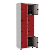 Roupeiro de Aço com Trinco 8 Portas 70x200x40cm Vermelho e Cinza 1 UN Elite Aço