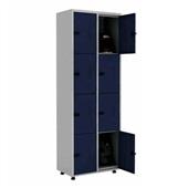 Roupeiro de Aço com Trinco 8 Portas 70x200x40cm Azul e Cinza 1 UN Elit