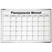 Quadro Branco Planejamento Mensal Alumínio 90x60cm 1 UN Souza