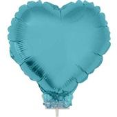 Balão Coração com Vareta N°11 Azul Baby 1 UN Funny Fashion