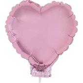 Balão Coração com Vareta N°11 Rosa Baby 1 UN Funny Fashion