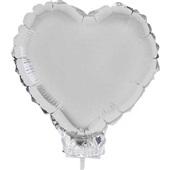 Balão Coração com Vareta N°11 Prata 1 UN Funny Fashion