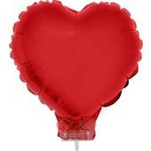 Balão Coração com Vareta N°11 Vermelho 1 UN Funny Fashion