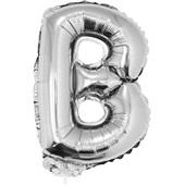 Balão Letra B com Vareta N°16 Prata 1 UN Funny Fashion