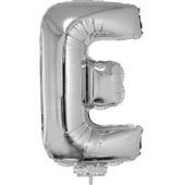Balão Letra E com Vareta Nº16 Prata 1 UN Funny Fashion