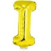 Balão Letra I com Vareta Nº16 Ouro 1 UN Funny Fashion