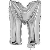 Balão Letra M com Vareta Nº16 Prata 1 UN Funny Fashion