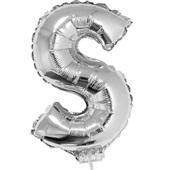 Balão Letra S com Vareta Nº16 Prata 1 UN Funny Fashion