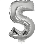 Balão Número 5 com Vareta Nº16 Prata 1 UN Funny Fashion
