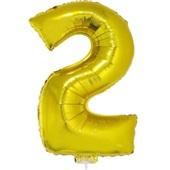 Balão Número 2 com Vareta Nº16 Ouro 1 UN Funny Fashion