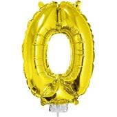 Balão Número 0 com Vareta Nº16 Ouro 1 UN Funny Fashion