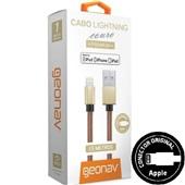 Cabo Lightning USB Premium para iPhone 1,5m Couro Marrom 1 UN Geonav