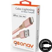 Cabo Lightning USB para iPhone iPad e iPod Nylon 1m Rosé Gold 1 UN Geonav