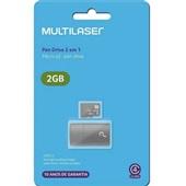 Leitor USB + Cartão de Memória Classe 4 2GB MC159 1 UN Multilaser