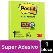 Bloco de Notas Super Adesivas Verde Neon 76 mm x 76 mm 90 folhas Post-it