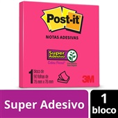 Bloco de Notas Super Adesivas Pink Neon 76 mm x 76 mm 90 folhas Post-it