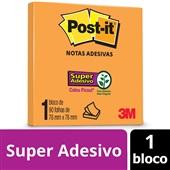 Bloco de Notas Super Adesivas Laranja Neon 76 mm x 76 mm 90 folhas Post-it