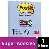 Bloco de Notas Super Adesivas Azul 76 mm x 76 mm 90 folhas Post-it