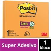 Bloco de Notas Super Adesivas Laranja Neon 76 mm x 102 mm 90 folhas Post-it
