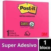 Bloco de Notas Super Adesivas Rosa 76 mm x 102 mm 90 folhas Post-it